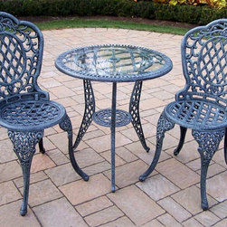 Oakland Living - 3 Pc Glass Top Bistro Set in Verdi Grey - Mis - Set includes Bistro Table w Umbrella opening and 2 Bistro Chairs. Made of Rust Free Cast Aluminum Construction. Easy to follow assembly instructions and product care information. Stainless steel or brass assembly hardware. Fade, chip and crack resistant. 1 year limited. Hardened powder coat finish in Verdi Grey for years of beauty. Verdi Grey finish. Some assembly required. 26 in. W x 26 in. D x 26 in. H (46 lbs.)This three piece Bistro Set will be a beautiful addition to your patio, balcony or outdoor entertainment area. Bistro sets are perfect for any small space, or to accent a larger space.