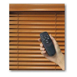Motorized Wood Blinds - The option to motorize wood blinds makes it even more convenient for you to control the slats of the blinds. The slats adjust with a simple push of a button or a switch control. Our motorization system provides you with beauty and comfort!
