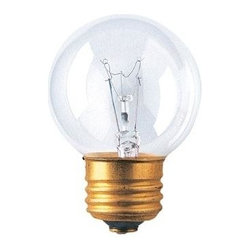 Bulbrite - Globe Medium Base Light Bulbs - 25 Bulbs (25w - Choose Wattage: 25wOne pack of 25 Bulbs. G16-1/2 incandescent type bulb. Standard E26 base bulb. Dimmable. EISA compliant. Voltage: 125 V. Average hours: 3000. Color rendering index: 100. Beam spread: 360 degree. Color temperature: 2700K. Ideal for use in vanity, chandeliers, pendants and down lights. Clear color. 25 watt lumens: 170. 40 watt lumens: 330. 60 watt lumens: 650. 2 in. Dia. x 2.88 in. H