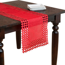 None - Red Embroidered Cutwork Table Runner - Make any table an elegant setting with the addition of this table runner. This rich red piece features a solid construction finished with intricate cutwork edges.