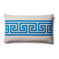 5 Surry Lane - Greek Key Lumbar Home Decor Accent Pillow, Blue - Our stylish Greek Key pillow, inspired by the classic Greek Key design, is an exceptional addition to either traditional or contemporary d̩cor. It's bright hue and poppy pattern will add a playful chic vibe to your space. 100% cotton.  Wash in cold water with mild detergent.  Down insert included. Hidden zipper closure. Made in the China.