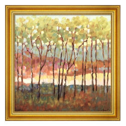 Impressionist Trees - Distant Color by Libby Smart - 2 Inch Gold Frame - Beautiful impressionist trees by Libby Smart. Pretty high-end gold frame. 24 x 24