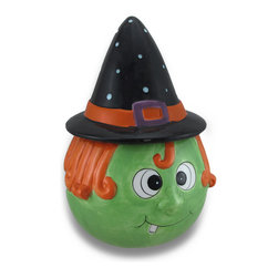 Zeckos - Ceramic Halloween Themed Cookie/Treat Jar w/Pointed Hat Lid - Everyone will smile when they lift the lid of this ceramic cookie jar Lift off the pointed hat, fill this jar with scrumptious Halloween treats and goodies, and temptation will be irresistible Made from ceramic, it's 10 inches high, 7 inches long and 6.5 inches wide (25x18x17 cm). It's great for your own little ghouls and goblins to grab an after school delight, to store your tea bags in, or toss spare change into. It's hand-painted and glazed, and recommended to hand wash only. Give yourself a special treat, or treat a friend to a little Halloween cheer; it makes a wonderful gift Halloween lovers are sure to adore
