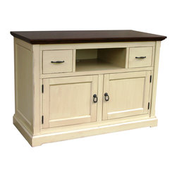 Tradewinds - Hand Painted Tuscany Sideboard/TV Console, Tobacco with Butternut - Showcase your exclusive home theater on this artistic sideboard/TV console. This wonderful creation features drawers with removable CD & DVD dividers and electrical cut-outs for ample ventilation and cable management. This hand painted furniture piece comes with multiple finish options to precisely match up with your decor.