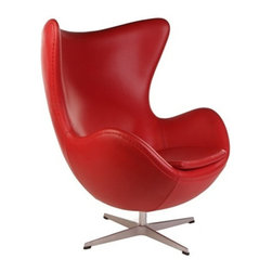Fine Mod Imports - Arne Jacobsen Style Egg Chair Red Leather - This wonderful Arne Jacobsen style chair features a molded fiber glass frame, fire retardant polyurethane foam padding, and covered with 100% Italian leather all over
