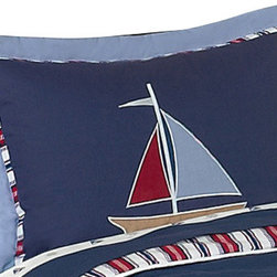 Sweet Jojo Designs - Nautical Nights Pillow Sham - The Nautical Nights standard pillow sham is created exclusively to coordinate with the Sweet Jojo Designs matching bedding set. This pillow sham is a quick and easy way to complete the look and theme in your child's bedroom. Machine washable. Fits all standard sized pillows. Dimensions: 20in. x 26in.