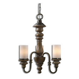 """Uttermost - Torreano 3 Light Wooden Chandelier - Heavily Distressed Solid Wood Turnings Finished In An Aged Pecan Stain With Burnished Taupe Arms And Glass Faux Candles. Number Of Lights: 3, Shade Size: Dia 3""""x5""""h, Voltage: 110, Wattage: 60w, Bulbs Included: No"""