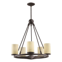 Joshua Marshal - Five Light Toasted Sienna Amber Scavo Glass Candle Chandelier - Five Light Toasted Sienna Amber Scavo Glass Candle Chandelier