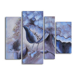 """My Art Outlet - Floral Mirage In Ice Hand Painted Canvas Wall Art - Size: 48"""" x 40"""" (12"""" x 32"""" x 1pc; 16"""" x 40"""" x 1pc; 8"""" x 32"""" x 1pc; 12"""" x 24"""" x 1pc). Enjoy a 100% Hand Painted Wall Art made with oil and acrylic paints on canvas stretched over a 1"""" thick inner wooden frame. The painting is gallery wrapped and ready to hang out of the box. A very stylish addition to any room that is sure to get the attention of guests."""