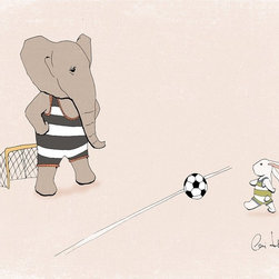 Artollo - Nursery Art Print Goal Kick A5 - 8.3x5.8 - Gallery quality paper print from hand drawn original, frame not included