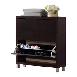 Baxton Studio - Simms Dark Brown Shoe Cabinet - Stash your shoes stylishly in our Simms Shoe Cabinet. This modern shoe storage solution was designed with a low profile, svelte size as to fit neatly against a wall in a hallway, mud room, or entryway. Two storage compartments each fit six pairs of shoes comfortably for a total of approximately twelve shoe slots, which varies depending upon your shoes' sizes. The unit is made in Malaysia with an engineered wood frame, dark brown faux wood grain paper veneer finish, plastic door supports, and silver plastic legs. The Simms Shoe Cabinet requires assembly and should be dry dusted. Separately offered is the Simms Cabinet in white.