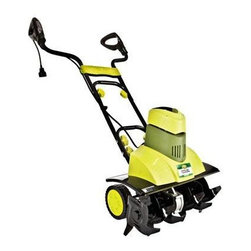 "Snow Joe - Electric Garden Tiller Cultivator 18"" - Sun Joe Tiller Joe 9-Amp Electric Garden Tiller/Cultivator holds the power found in a gas tiller with the convenience of electric power. Its six steel angled tines enable the Tiller Joe Max to loosen the ground and make any planting or dirt removal easier than with hand tools.  Relieving strain on the operator by using power and reducing weight and motion by the operator.  Behind the Tiller Joe's dependable performance is a powerful 9-amp motor.  The tiller's corded electric design means you don't need to worry about dead batteries, running out of gas, or making the right gas-oil mix.  In addition, with push-button Instant Start technology, you can trust that this tiller will be ready to go whenever you are--no frustrating, arm-wrenching pull starts required.  18"" Cultivating Width, Instant Start, Folding handle enables unit to store easily and take up minimal space."