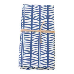 Wolfum - Rampli Napkins, Set of 2 - Spice up your table with this set of two organic cotton & recycled poly twill napkins. Hand printed design in blue and white. Machine washable.