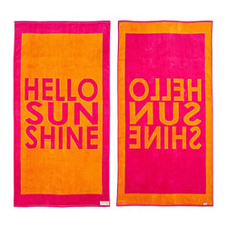 FREEMAN LCL - 100% Cotton Reversible Oversized Beach Towel, Pink/Orange, Sand Dollar, Hello Su - This wonderfully lush, oversized beach towel features a fun hello sunshine print on both sides. Made from super plush cotton, this beach towel is reversible for versatility.