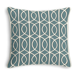 Aqua Modern Trellis Corded Throw Pillow - Black and white photos, Louis XIV chairs, crown molding: classic is always classy. So it is with this long-time decorator's favorite: the Corded Throw Pillow.  We love it in this rounded trellis in dark aqua & white on soft lightweight line. your gateway to a chic modern look.