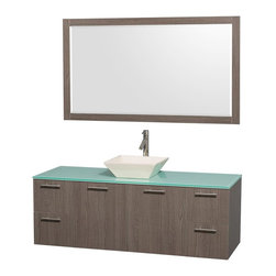 Wyndham Collection - Single Bathroom Vanity Set - Includes sink, green glass top, mirror, drain assemblies and P-traps for easy assembly. Faucet not included. Square bone porcelain sink. Two functional doors. Concealed soft close door hinges. Modern brushed chrome door pulls. Unique and striking contemporary design. Four functional drawers. Fully-extending soft-close drawer slides. Deep doweled drawers. Single-hole faucet mount. Plenty of storage space. Eight-stage preparation, veneering and finishing process. Highly water-resistant low V.O.C. sealed finish. Metal exterior hardware with brushed chrome finish. Wall-mount design. Mirror glass thickness: 0.75 in.. Warranty: Two years limited. Made from beautiful veneers over highest quality grade E1 MDF. Gray oak finish. Door: 17.25 in. W x 20.5 in. H. Drawer: 12.63 in. W x 10.13 in. H. Mirror: 58 in. W x 33 in. H (40 lbs.). Vanity: 60 in. W x 22.25 in. D x 21.25 in. H (124 lbs.). Handling Instructions. Installation Instructions - Mirror. Installation Instructions - VanityModern clean lines and a truly elegant design aesthetic meet affordability in the Wyndham Collection Amare Vanity. Each vanity provides a full complement of storage areas behind sturdy soft-close doors and drawers. A wall-mounted vanity leaves space in your bathroom for you to relax. The simple clean lines of the Amare wall-mounted vanity family are no-fuss and all style.