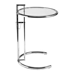 """Eurostyle - Eurostyle Eileen Gray Round Glass Side Table w/ Adjustable Height - Gray Round Glass Side Table w/ Adjustable Height belongs to Eileen Gray Collection by Eurostyle This is the table that established the genius of Eileen Gray. A magnificent design that says, """"Function isn't everything"""". Why not make this interesting as well? The surface floats gracefully, practically airborne, and the height is easily adjustable with the chain and peg. Wow. Side Table (1)"""