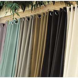 "Ballard Designs - Ballard Indoor/Outdoor Drapery - Non-weighted corners. Available in a variety of Sunbrella® fabrics. 50"" Wide. Imported. Sewn of extra thick Sunbrella fabric to resist fading, mildew and mold. Fitted with 2"" nickle finish grommets and non-weighted corners. Pair them with our popular indoor/outdoor fabrics, pillows and umbrellas for a coordinated look. Dry clean or spot clean. Ballard Indoor/Outdoor Drapery features: . Available in a variety of Sunbrella fabrics. . ."