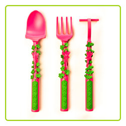 "Constructive Eating - Garden Fairy Vines Utensil Set - These award-winning Constructive Eating Garden Utensils are the perfect set for the young fairy fan. It contains the Garden Rake Fork, Shovel Spoon, and Hoe Pusher, each one based on a different tool used in the garden and is decorated with the plants found there. Perched on the handle is a garden fairy, creatively designed for a more entertaining meal! Allo- featured on the spoon, Charlie - featured on the fork, and Willow - featured on the pusher, are the three fairy friends. Even though they're all very different, these girls love to have fun together. Each utensil is rugged, yet light weigh and has textured, easy grip handles to teach little ones the proper utensil grip. Use them at home or take them along to keep your little one entertained while eating out.         * Utensils measure 6"" in length * Made in the USA * Dishwasher safe * Microwave safe"