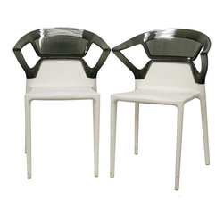 Baxton Studio - Swap White Plastic Modern Dining Chairs with Grey Backrest (Set of 2) - Add a contemporary touch to your next gathering with these modern dining chairs. The plastic-and-acrylic construction makes them suitable for indoor our outdoor use, and the chairs are stackable for easy storage after your guests leave.