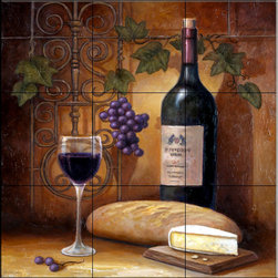 The Tile Mural Store (USA) - Tile Mural - Wine And Cheese A  - Kitchen Backsplash Ideas - This beautiful artwork by John Zaccheo has been digitally reproduced for tiles and depicts a bottle of wine, some bread and cheese.    Our decorative tiles with wine are perfect to use for your kitchen backsplash tile project. A wine tile mural adds elegance and interest to your kitchen wall tile area and makes a wonderful kitchen backsplash idea. Pictures of wine on tiles and images of wines bottles on tiles and wine glasses on tiles is timeless and these decorative tiles of wine blend with any decor. Your kitchen will come to life with a tile mural featuring wine.