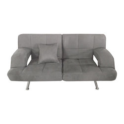 None - Grey Microsuede Sofa Bed - This beautiful sofa bed folds down to provide the options of slumber as well as sitting. The microsuede solid grey upholstery is filled with soft foam for easy comfort in any position.