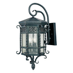 Maxim Lighting - Maxim Lighting Scottsdale Outdoor Wall Mount Light Fixture in Country Forge - Shown in picture: Scottsdale is a traditional - Mediterranean style collection from Maxim Lighting International in Country Forge finish with Seedy glass.