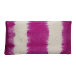 Designers Guild - Rokechi Fuchsia Pillow - Mix it up with this contemporary technique, tie die! Made of silk for just the right comfort for your bed or living room!