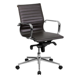 Flash Furniture - Flash Furniture Mid-Back Brown Ribbed Upholstered Leather Conference Chair - This elegant office chair will add an upscale appearance to your office. The comfort molded seat has built-in lumbar support and Features a locking tilt mechanism for a mid-pivot knee tilt. This chair Features dual paddle controls to easily adjust your chair and an integrated bar in the back to keep your jacket within reach. If you're looking for a modern office chair that provides a sleek look, then the Ribbed Upholstered Leather Office Chair by Flash Furniture delivers. [BT-9826M-BRN-GG]