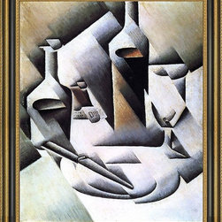"""Art MegaMart - Juan Gris Bottles and Knife - 16"""" x 20"""" Framed Premium Canvas Print - 16"""" x 20"""" Juan Gris Bottles and Knife framed premium canvas print reproduced to meet museum quality standards. Our Museum quality canvas prints are produced using high-precision print technology for a more accurate reproduction printed on high quality canvas with fade-resistant, archival inks. Our progressive business model allows us to offer works of art to you at the best wholesale pricing, significantly less than art gallery prices, affordable to all. This artwork is hand stretched onto wooden stretcher bars, then mounted into our 3 3/4"""" wide gold finish frame with black panel by one of our expert framers. Our framed canvas print comes with hardware, ready to hang on your wall.  We present a comprehensive collection of exceptional canvas art reproductions by Juan Gris."""