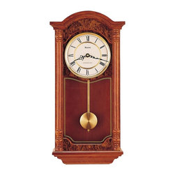 BULOVA - Bulova Edenhall Oak Wall Clock Model C4431 - Solid oak case with dark oak finish and burl pattern accents