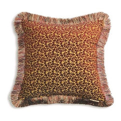 """Canaan - Pica Chenille Wine Small Damask Pattern Print 20"""" x 20"""" Throw Pillow - Pica chenille wine small damask pattern print 20"""" x 20"""" throw pillow with brush fringe trim. Measures 20"""" x 20"""" made with a blown in foam. These are custom made in the U.S.A and take 4-6 weeks lead time for production."""
