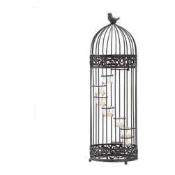 """n/a - Birdcage Staircase Candle Stand - A little bird sits atop this darling cage that houses spiral stair-stepped tea light candle cups.  Birdcage door provides easy access to the candles.  Iron and glass.  Candles not included.  9"""" diameter x 28"""" high."""