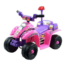 Trademark Global - Lil' Rider 4 Wheel Battery Operated Mini ATV - Require 2 AA batteries (not included). Battery: 6V - 4.5AH x 1 Battery. Speed: 3 mph. Sound effects. Forward and reverse. Ages: 2-4 years. 26 in. L x 17.25 in. W x 20.75 in. HLil' Rider 4-Wheeler Mini ATV gives kids the new adventure and role play of riding their own ATV. This is a toy that your child will not stop talking about. You will be the talk of the block with one of the coolest mini ATV's ever made.