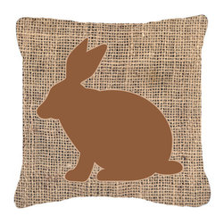 Caroline's Treasures - Rabbit Burlap and Brown Fabric Decorative Pillow BB1002 - Indoor or Outdoor pillow made of a heavy weight canvas. Has the feel of Sunbrella fabric. 14 inch x 14 inch 100% Polyester Fabric pillow Sham with pillow form. This pillow is made from our new canvas type fabric can be used Indoor or outdoor. Fade resistant, stain resistant and Machine washable.