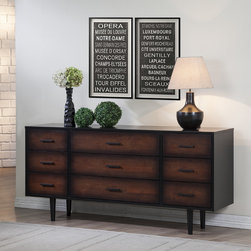 Preston - Preston 9-drawer Cherry/ Black Dresser - With a lovely finish of deep black that fades into a gorgeous cherry color, the exquisite and practical Preston dresser contains nine drawers. This durable piece is composed of rubberwood and MDF.