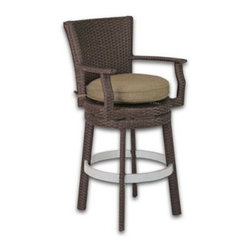 Patio Heaven Signature Swivel Round Barstool with Arms - The Patio Heaven Signature Swivel Round Barstool with Arms emits style, comfort and elegance in any space. The refined frame is perfectly complimented by a plush Sunbrella cushion for extra comfort. The swivel mechanism makes it easy to get in and out of. All materials are weather-resistant so you can enjoy the outdoors year round.About Patio HeavenWith over 40 years of experience in working with top manufacturers and designers, Patio Heaven brings you signature collections with both classic and modern design elements. Drawing inspiration from the ocean to the mountains and everywhere in between, Patio Heaven lets you bring your sense of style to your outdoor living space. Their furniture looks great in any season and any region. With furniture from Patio Heaven, you don't just pick out patio furniture ñ you choose a lifestyle.