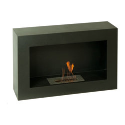"""Ignis Fireplaces - Ignis Spectrum, Freestanding Ethanol Fireplace - Stay warm and keep your space looking sleek and modern at the same time with this Spectrum Freestanding Ventless Ethanol Fireplace. This geometrically shaped unit will have all eyes drawn towards it wherever it is installed. This fireplace is ideal for creating the warm countrified ambiance of a fireplace without the traditional look of a wood burning unit. It is a ventless model so it installs easily without special wires or a chimney. It has a 1.5-liter ethanol bio ethanol burner insert that burns up to five hours before you have to refill it. With an approximate output of 6 000 BTUs this small fireplace packs a powerful punch and will keep you toasty warm all season long. Dimensions: 31.4"""" x 19.75"""" x 8.75""""."""