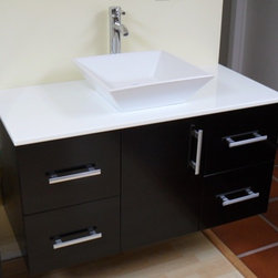 "Modern Contemporary Bathroom Vanity *WALL MOUNT*, Espresso, 42"" - Cabinet is made out of  Pure Oak Wood"