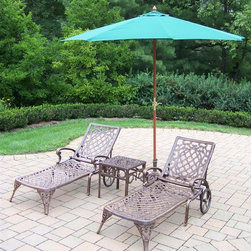 Oakland Living - 4-Pc Outdoor Chaise Lounge Set - Includes two chaise lounges, side table and 108 in. Dia. umbrella with stand. Crisp and stylish traditional lattice pattern and scroll work. Lightweight. Metal hardware. Fade, chip and crack resistant. Warranty: One year limited. Made from rust-free cast aluminum. Antique bronze hardened powder coat finish. Minimal assembly required. Chaise Lounge: 71 in. L x 25.5 in. W x 35 in. H (68 lbs.). Side table: 17.5 in. W x 17.5 in. D x 19 in. H (15 lbs.)The Oakland Mississippi Collection combines southern style and modern designs giving you rich addition to any outdoor setting. This set will be beautiful addition to your patio, balcony or outdoor entertainment area. Our Chaise lounger sets are perfect for any small space or to accent larger space. We recommend that products be covered to protect them when not in use. To preserve the beauty and finish of the metal products, we recommend applying epoxy clear coat once a year. However, because of the nature of iron it will eventually rust when exposed to the elements.