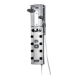 Ariel - Ariel AED-9002N Shower Panel - Enjoy the pleasures of an Ariel Shower Panel in your home. This unit is ?fully loaded with 6 body massage jets, handheld showerhead, and a rainfall showerhead which is designed to greatly increase your therapeutic experience. We are confident that you will indulge in a state of complete relaxation and tranquility with all of these features within these shower panel enclosures. Look below for the features and detailed specifications of this shower panel. Finish - Aluminum Alloy, Overhead Rainfall Showerhead, Handheld showerhead, 8 Body Massage Jets, Shampoo shelf, Tub Filler
