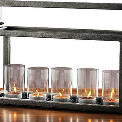 Fashion N You - Hampton 5 lite Candelabra - This centerpiece candle holder has three glass candle holders with handle and unique grey finish. The long candle holder, making a table centerpiece that adds a romantic glow to candlelight. They can be used for tea lights or candles to add a warm glow to evenings outdoors or indoors.