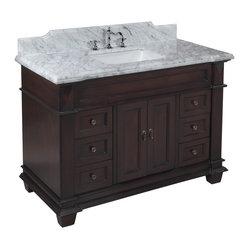 Kitchen Bath Collection - Elizabeth 48-in Bath Vanity (Carrera/Chocolate) - This bathroom vanity ...