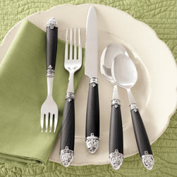 Chatou Flatware - Black-handled flatware goes with every dish set and would look great with casual or elegant table settings. Two sets will provide enough flatware for everyday use.
