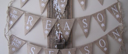 JESUS is the REASON for the SEASON...Glittered Burlap Banner with Snowflakes