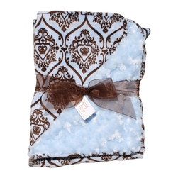 Paisley/Baby Blue Baby Blanket - This throw blanket is supremely soft and cozy while its two-tone color scheme keeps it looking elegant and sophisticated in any nursery. Buy this blanket for your baby or give as a shower gift to expectant parents. They'll be sure to love and cherish it for years.