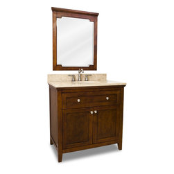 """Distressed Shaker Vanity Set, Brown, Three Door Extended - This set consists of 36"""" wide solid wood vanity with shaker doors, preassembled marble top, and matching beveled glass wood framed mirror. Vanity includes a top drawer and spacious cabinet with an adjustable shelf. Drawer features solid wood dovetailed box and soft-close slides and cabinet features soft-close hinges. Vanity comes preassembled with a 2.5cm Emperador Light marble top with 4"""" tall backsplash, 17""""x14"""" bowl, and cut for 8"""" faucet spread."""