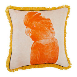 Cockatoo Pillow - I love how the fringe trim on this pillow seems to echo the softness of the bird's feathers. It would make a wonderfully whimsical addition to an outdoor love seat or bench.