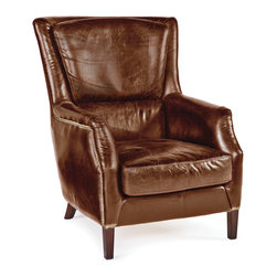 Kathy Kuo Home - Alfred Rustic Lodge Vintage Brown Leather Armchair - Perfect for lounging in the library or conversing by the fireside, this generously proportioned piece is as comfortable as it is classic. Inviting, luxurious brown leather is slightly distressed and finished with dark brown legs.