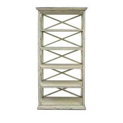 Golden Lotus - Rustic Beige Off White Color Solid Wood Display Cabinet / Book Shelf - You are looking at a rustic beige off white color solid wood book shelf. It has 5 shelves and open-work sides and back. This is a simple but elegant piece to decorate your house.
